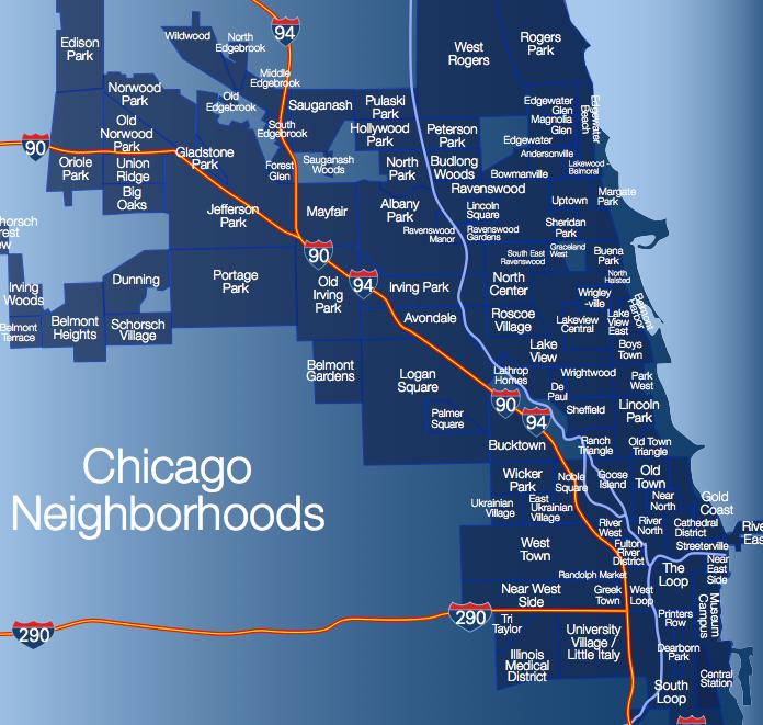 Районы Чикаго. Полная карта районов Чикаго, США