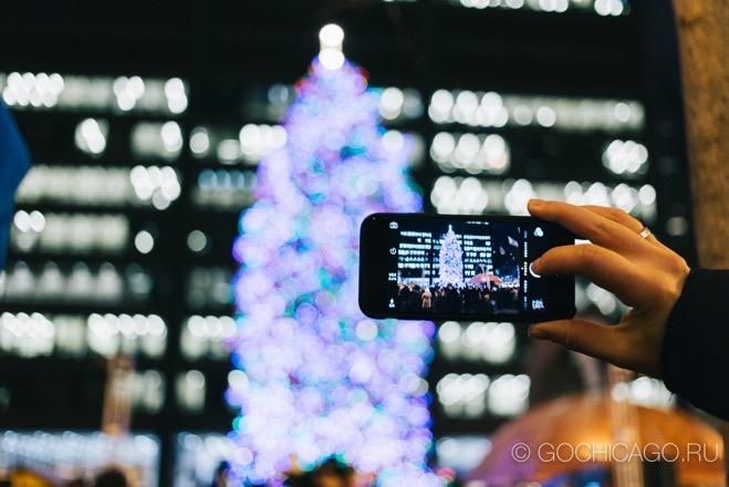 101-я церемония зажжения рождественской елки в Чикаго